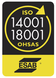 ESAB Is Proud To Be ISO 14001 & OHSAS 18001 Certified