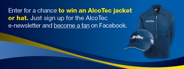 Sign up for the Alcotec Enewsletter & Become a Fan on Facebook and you could win an Alcotec jacket or hat!